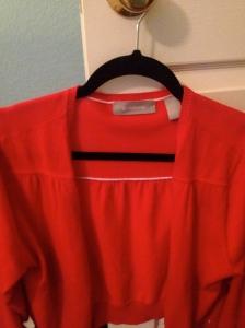 MLA:  Pentecost red cardigan worn on Sunday